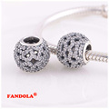 Fits Pandora Charms Bracelet 925 Sterling Silver Beads Shimmering Lace with Clear CZ Charm for Women