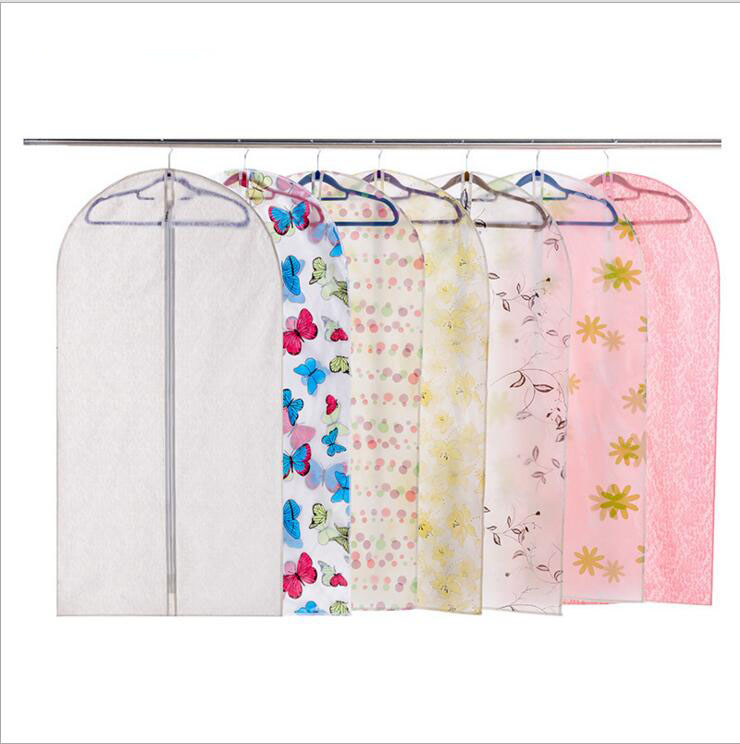 5pcs/lot High quality PEVA suit overcoat dust cover clothes dustproof plastic garment bags over dust cover transparent washable(China (Mainland))