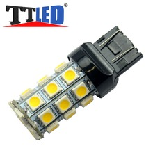 2X 7440 7443 W21/5W T20 27SMD 5050 27 smd Wedge Car Brake Stop Reverse Turn signal LED bulb 12V amber red Free shipping #TD06(China (Mainland))