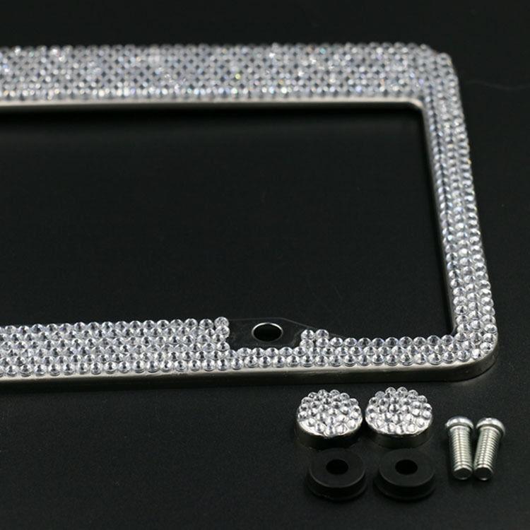 Silver Diamond Bling Glitter Crystal Rhinestone Metal US Car License Plate Frame(China (Mainland))