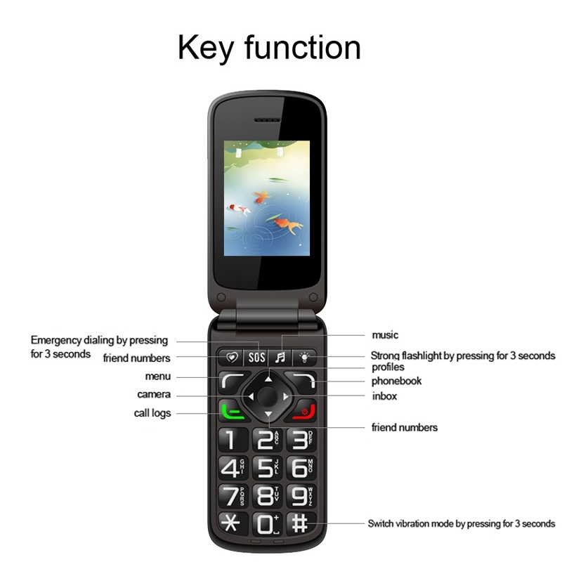 Original VKworld Z2 2.4 inch TFT Color Display Screen Elders Mobile Phone Support Dual SIM Card 0.3MP Camera FM Bluetooth