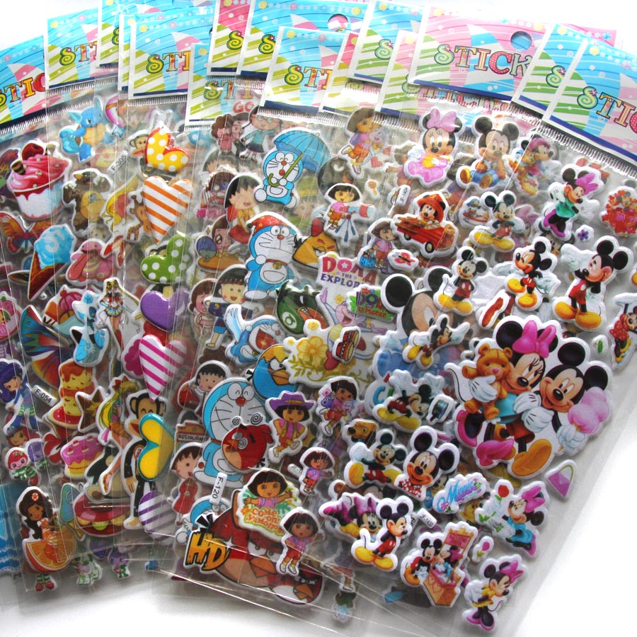 10 Sheets/lot 3D Puffy Bubble Stickers Mixed Cartoon Mickey Cars Spiderman Waterpoof DIY Children Kids Boy Girl Toy Hot Sale(China (Mainland))