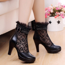 women summer 2016 ankle boots for women black ankle womens boots genuine leather lace autumn spring high heel boots sxq0603(China (Mainland))