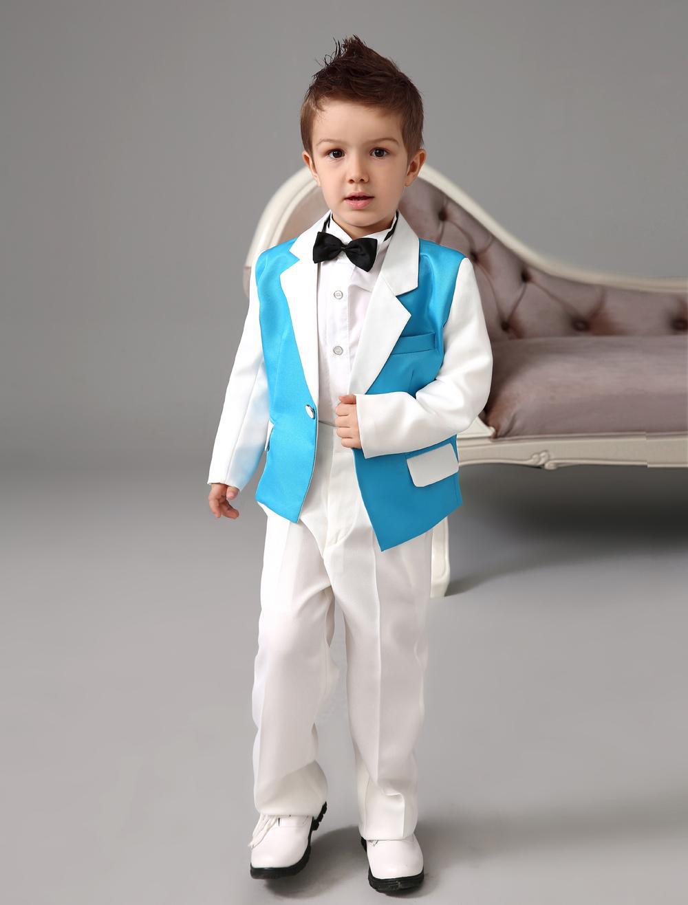 Luxurious blue and white Ring Bearer Suits cool Boys Tuxedo With Black Bow Tie kids formal dress boys suits fashion kids suits(China (Mainland))