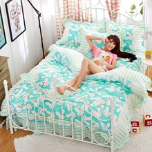 Cotton Floral Girls Bedding sets Princess style bedclothes 4 Pcs Bed linen/Sheet Duvet/Comforter/Quilt cover pillowcases(China (Mainland))