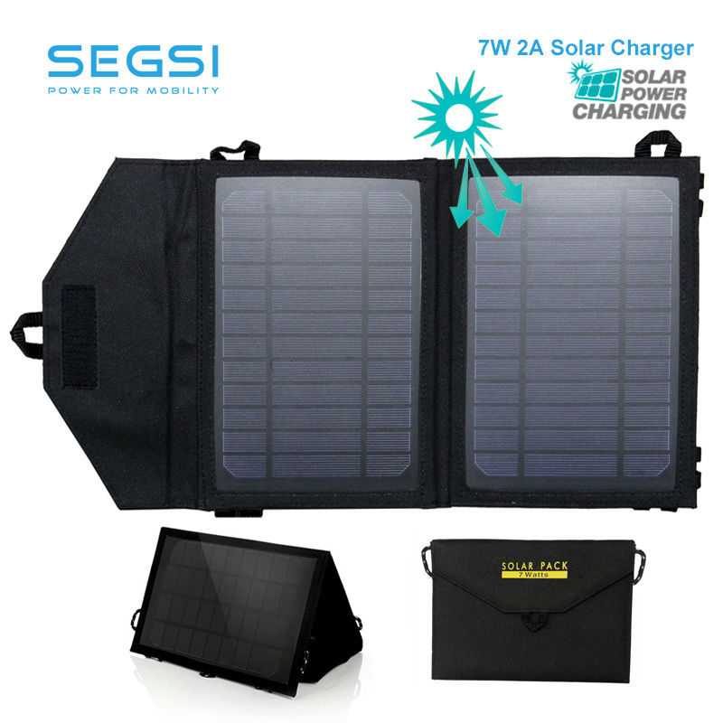 High Quality 7W Portable Solar Charger for Mobile Phone iPhone Folding Mono Solar Panel+Foldable Solar USB Battery Charger(China (Mainland))