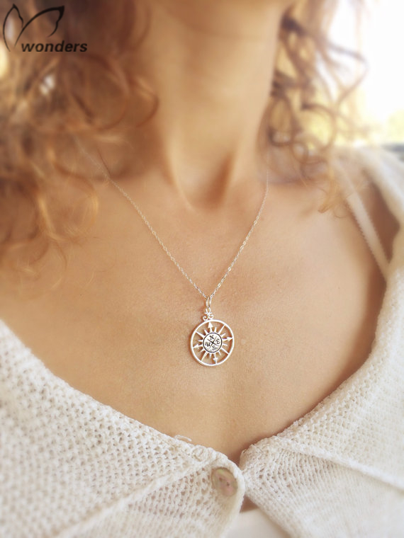 New Brand 2015 Fashion Compass Jewelry Vintage Gold Silver Chain Arrow Necklace For Women Best Friend Wedding Bridesmaid Gift(China (Mainland))