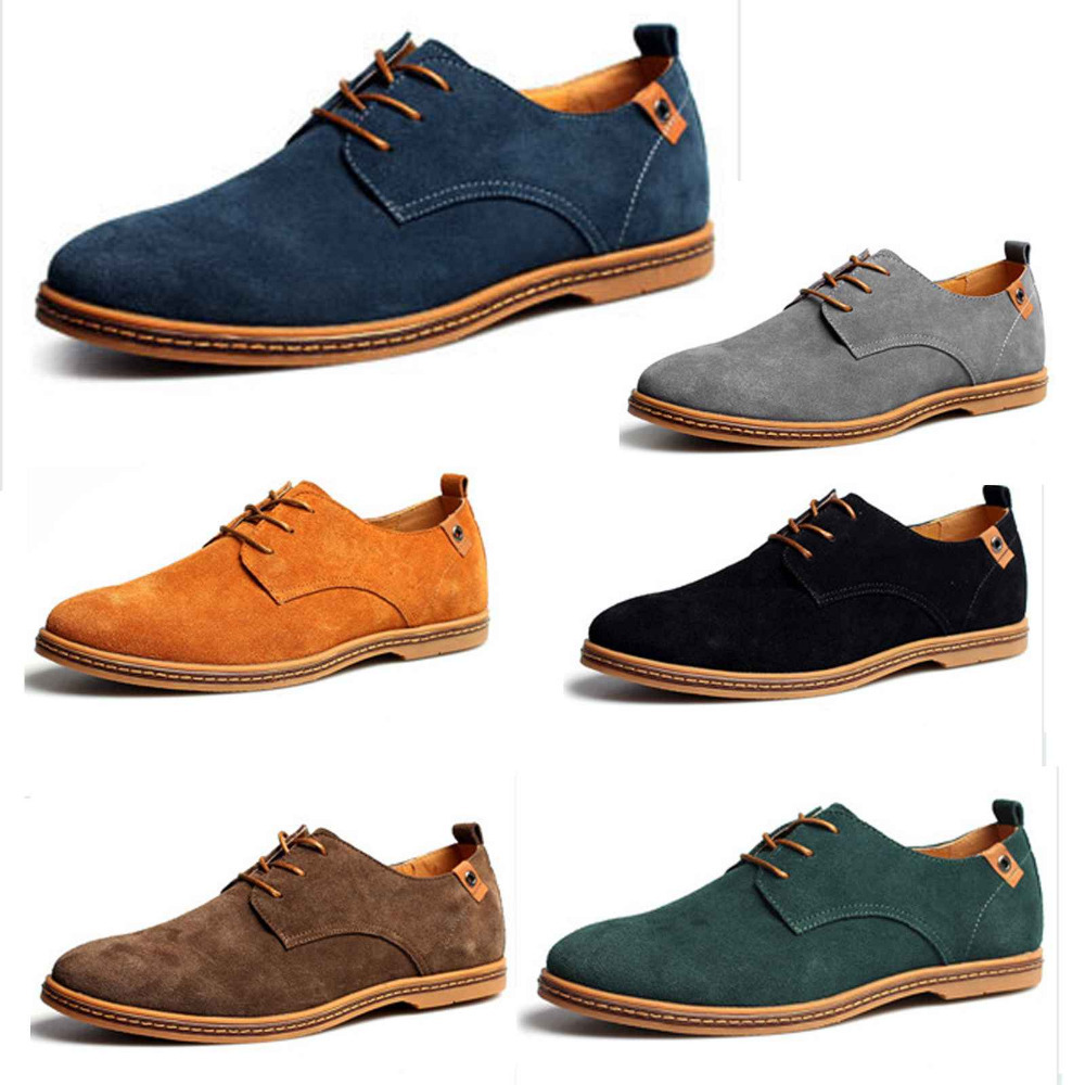 New Menu0026#39;s Suede Leather Oxford Fashion Sneakers Flats Shoes Lace Up For Man European Leather ...