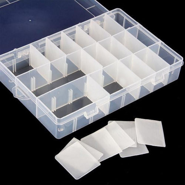Organizer Storage Beads Box 3 Size 10 15 24 Compartment Slot Free Installation Demolition Plastic Jewelry Adjustable Case(China (Mainland))