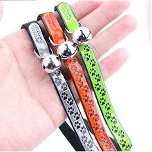30*1cm Mascotas Pet cat PU rivet collar for cats Reflective footprints Walking Harness Lead(China (Mainland))