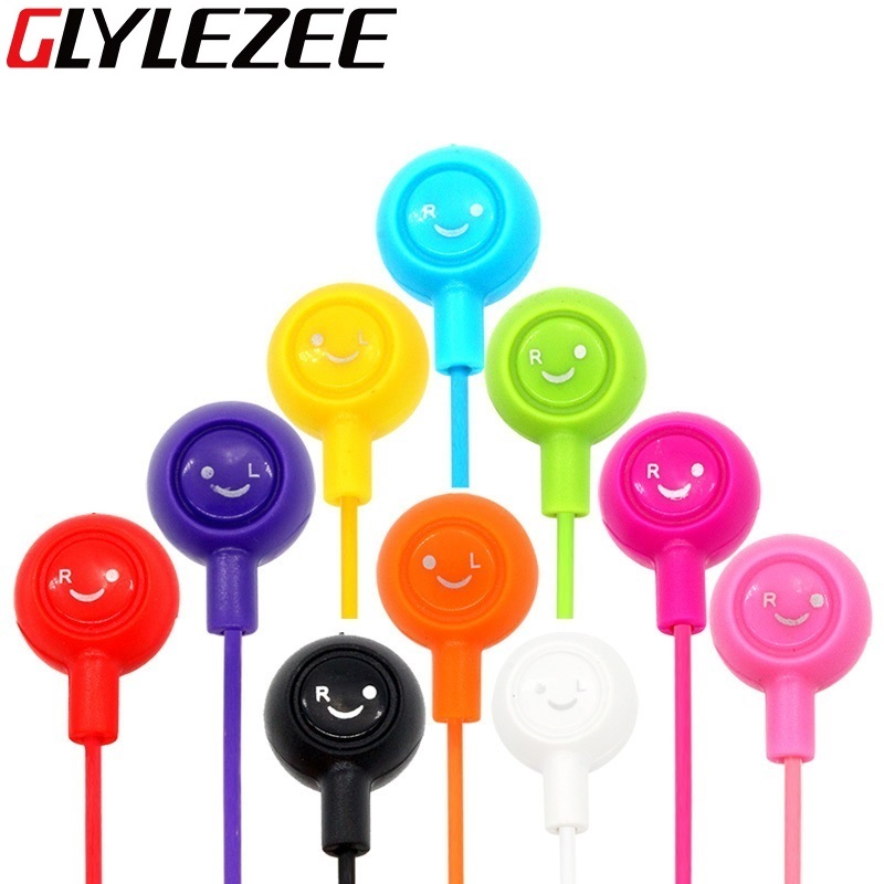 Glylezee Smiling Face Earphone Earpieces 3.5MM In-Ear Noise Cancelling Headset for Mobile Phone MP3 Music Player(China (Mainland))