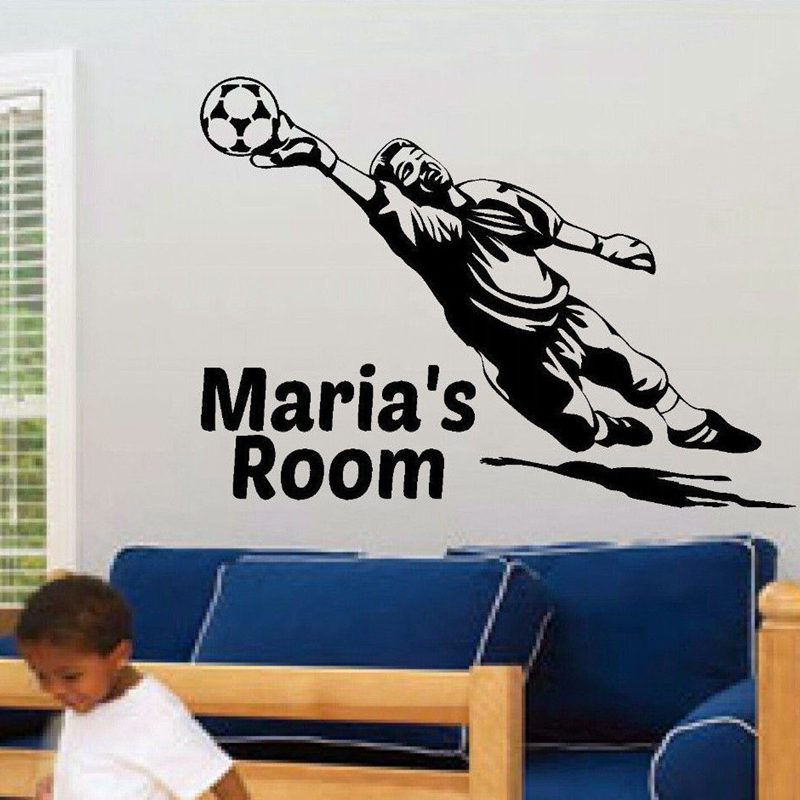Football Player Sticker Sports Soccer Decal Helmets Kids Room Name Posters Vinyl Wall Decals Parede Decor Mural Football Sticker(China (Mainland))