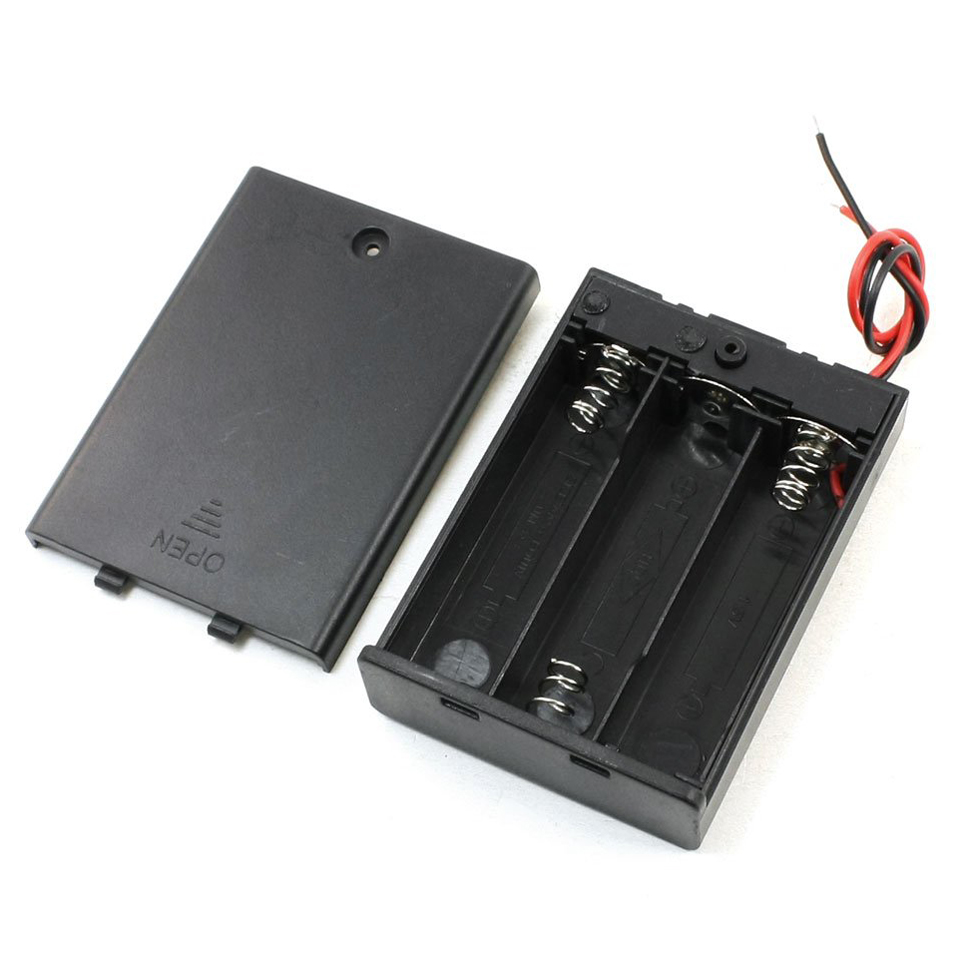 Hot!ON/OFF Switch Batteries Case Box w Cover for 3 x 1.5V AA Battery 33XT7