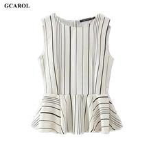 Women New Collecation OL Tops Striped Design Elegant Sleevelss Blouse Peplum Design Summer Blouse (China (Mainland))