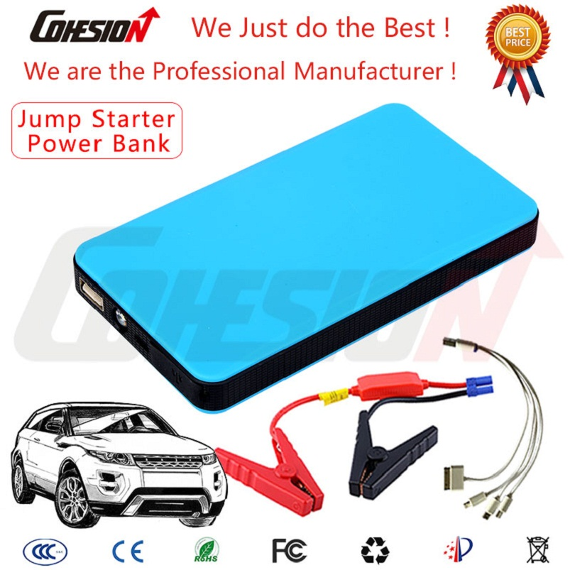 Blue Color 6000mAh Portable Pack Booster Car Jump Starter Portable Power Bank for Iphone 6 6plus Samsung Galaxy(China (Mainland))