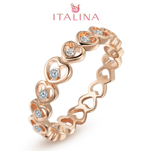 Italina brand 3-20 size 2016 18K rose Gold aneis Women's crystal heart bijoux jewelry Austrian crystal wedding rings wholesale(China (Mainland))