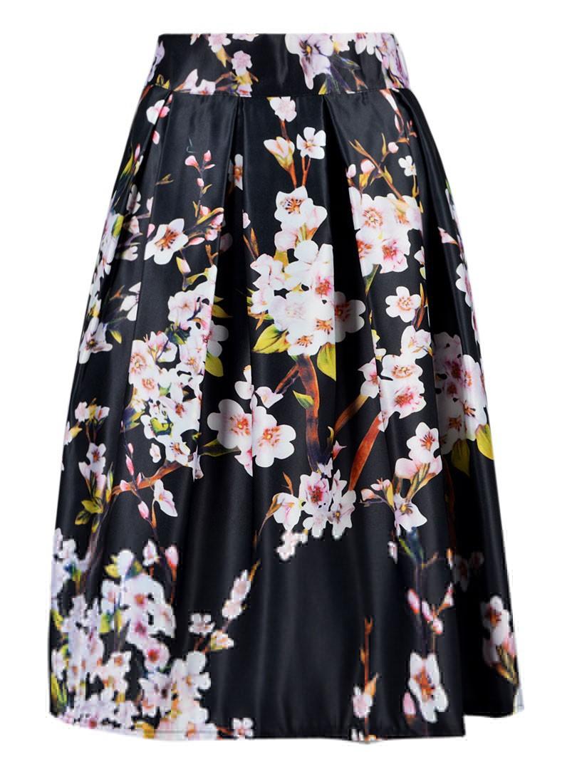 Юбка с большими цветами