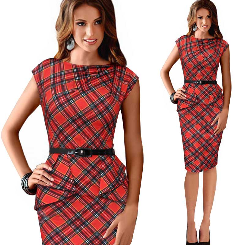 Womens Vintage Elegant Belted Tartan Plaid Peplum Ruched Tunic Wiggle Work Cap Sleeve Bodycon Sheath Party Office Pencil Dress(China (Mainland))
