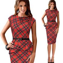 Womens Vintage Elegant Belted Tartan Plaid Peplum Ruched Tunic Wiggle Work Cap Sleeve Bodycon Sheath Party Office Pencil Dress