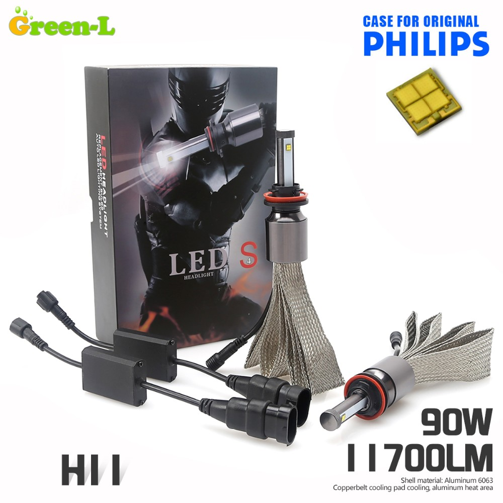 Купить 90 Вт 11700LM с Подлинной Philips чип Автомобилей СВЕТОДИОДНЫЕ Фары Комплект H1 H3 H4 H7 H9 H11 9004 9005 HB3 9006 HB4 9007 HB5 9012 H13 9008