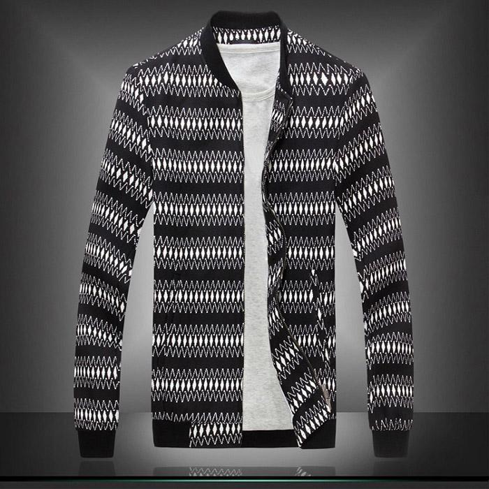 Men Red Black Jacket 2015 New Spring Fashion Brand Baseball Collar Slim Fit Fine Lines Argyle Jacket J1299(China (Mainland))