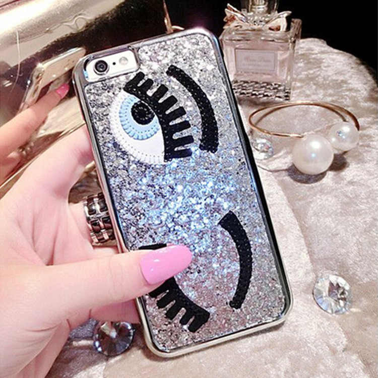 Luxury 3D Flirting Eyes Brilliant Miss Gossip Chiara Ferragni Glitter Plastic Mobile Phone Cases For iPhone 5 5s 6 4.7 6plus 5.5(China (Mainland))