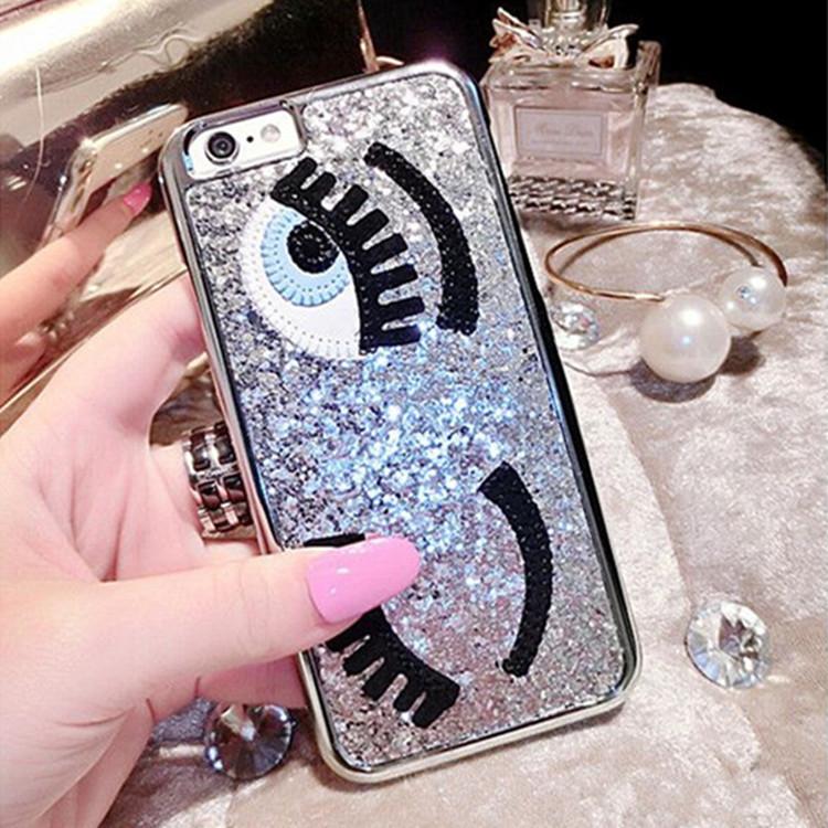 Luxury 3D Flirting Eyes Brilliant Miss Gossip Chiara Ferragni Glitter Plastic Mobile Phone Cases For iPhone 5 5s 6 4.7 6plus 5.5(China (Mainland))