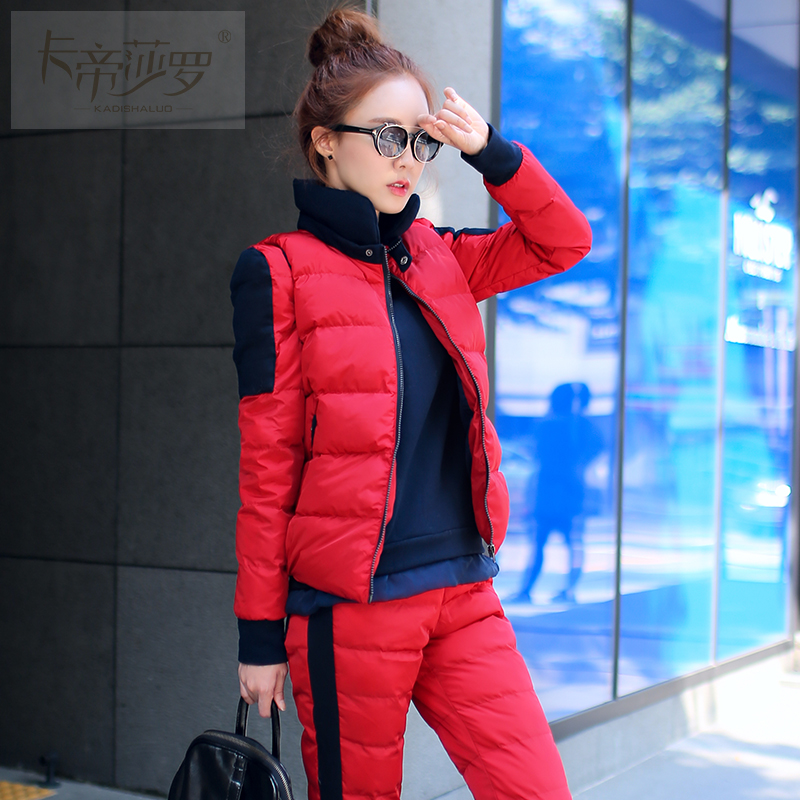 2015 New Warm Winter Suit Jacket Pants Women s Fashion Slim Down Padded Three piece Suits
