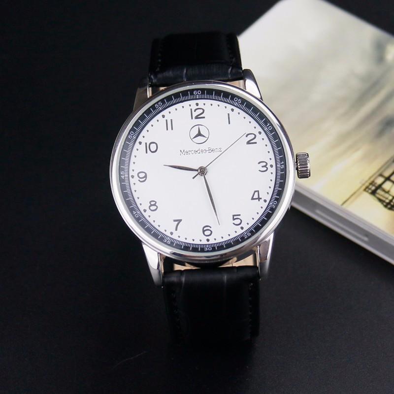 mercedes Benz Fashion car brand logo men's boy leather strap quartz waterproof wrist watch mens watches top brand luxury relogio(China (Mainland))