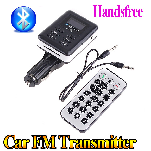 Handsfree Bluetooth Car MP3 player wireless car FM Transmitter for SD/MMC Card/mobile phone free shipping drop shipping(China (Mainland))