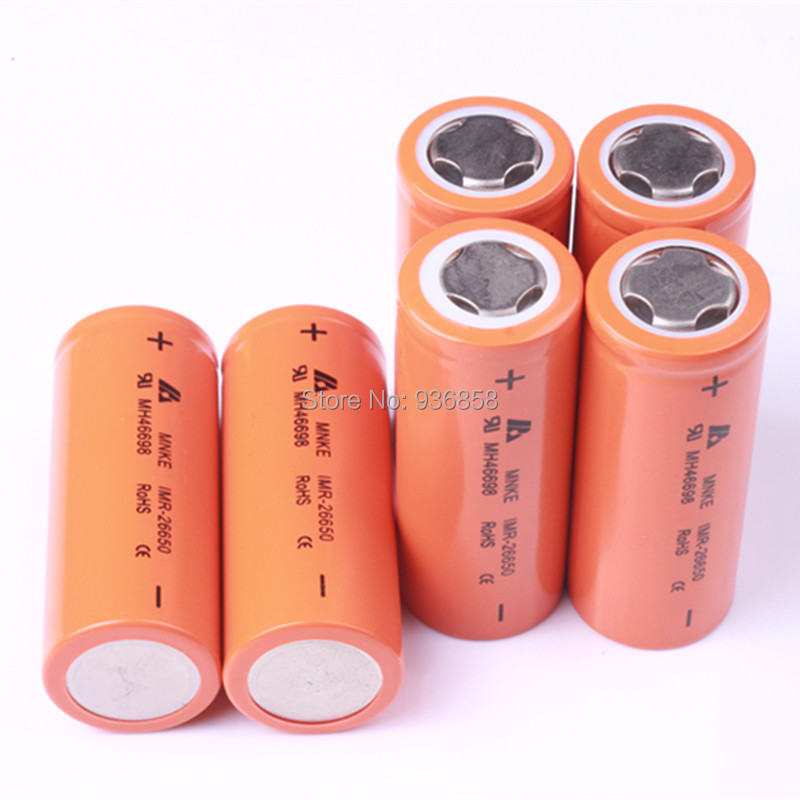 6PCS New  MNKE IMR 26650 IMR26650 3500mAh 3.7v 30A rechargeable lithium battery high drain battery for ecig<br><br>Aliexpress