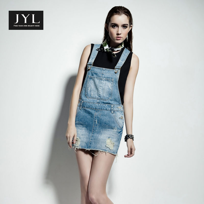 JYL jeans high street fashion ripped denim skirts bib women,acid washed waist skirt romper overall rough bottom - store