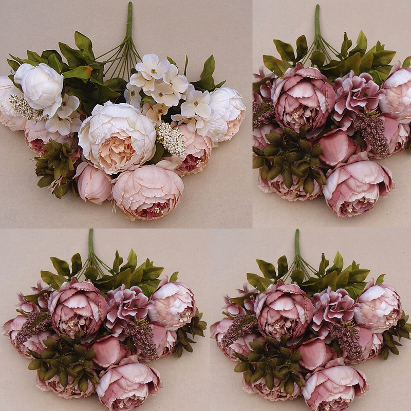 Festival Party Decorative Flower Wedding Christmas Home Decal Flower Pretty Charming 1 Bouquet Artificial Peony Flowers(China (Mainland))