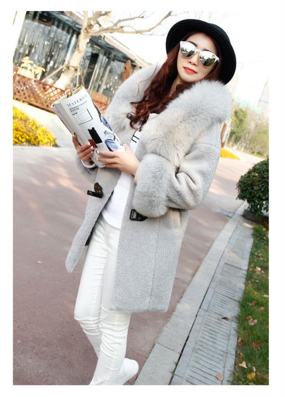 MAOMAOKONG new autumn winter jacket women fashion 100% real fox fur loose oversize pink black overcoat long woolen ladies coats