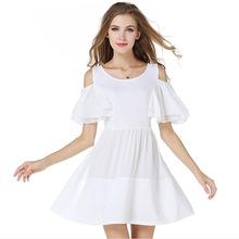 2015 Blanco Vestido Blanco descubierto del hombro manga de la llamarada gasa blanca princesa Dress Mini vestidos lindos barato de moda ropa mujer(China (Mainland))