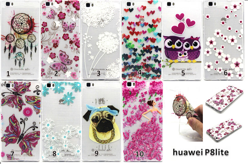 Cartoon Pet dog Anchor Windbell Butterfly Lovely Owl Phone TPU Case Silicone Back Cover For Huawei P8 lite +Free U-bracket(China (Mainland))