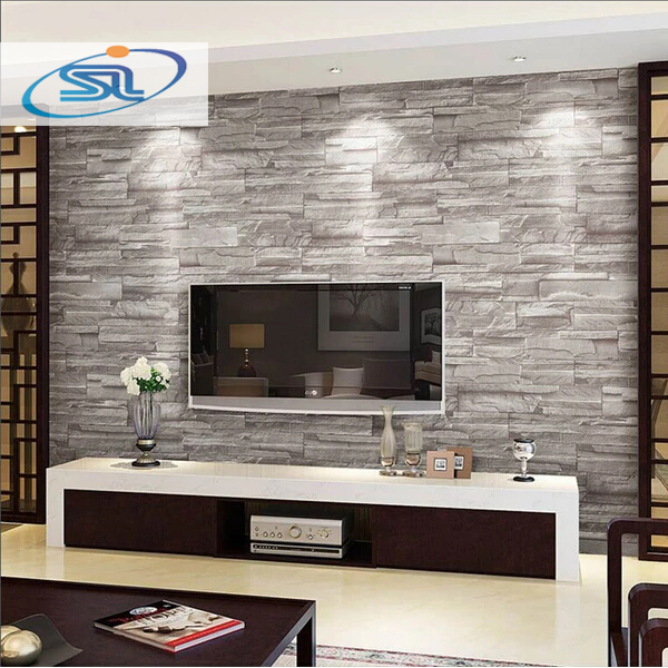 Gestreifte Tapete Tapezieren : Stone Brick Wall Living Rooms