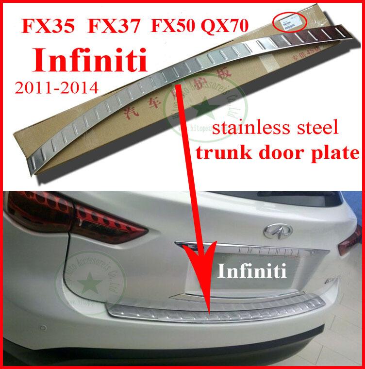 Фотография Infiniti FX QX FX35 FX37 FX50 QX70 rear bumper protection sill, rear trunk door sill scuff plate,304 stainless steel, 2011-2014
