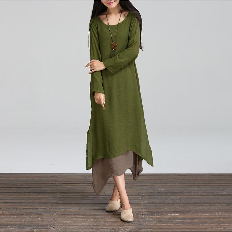 Новый осень хлопок белье винтажное платье 2015 женщин о-образным вырезом с длинными рукавами свободного покроя широкий Boho длиной макси платья Vestidos Большой размер