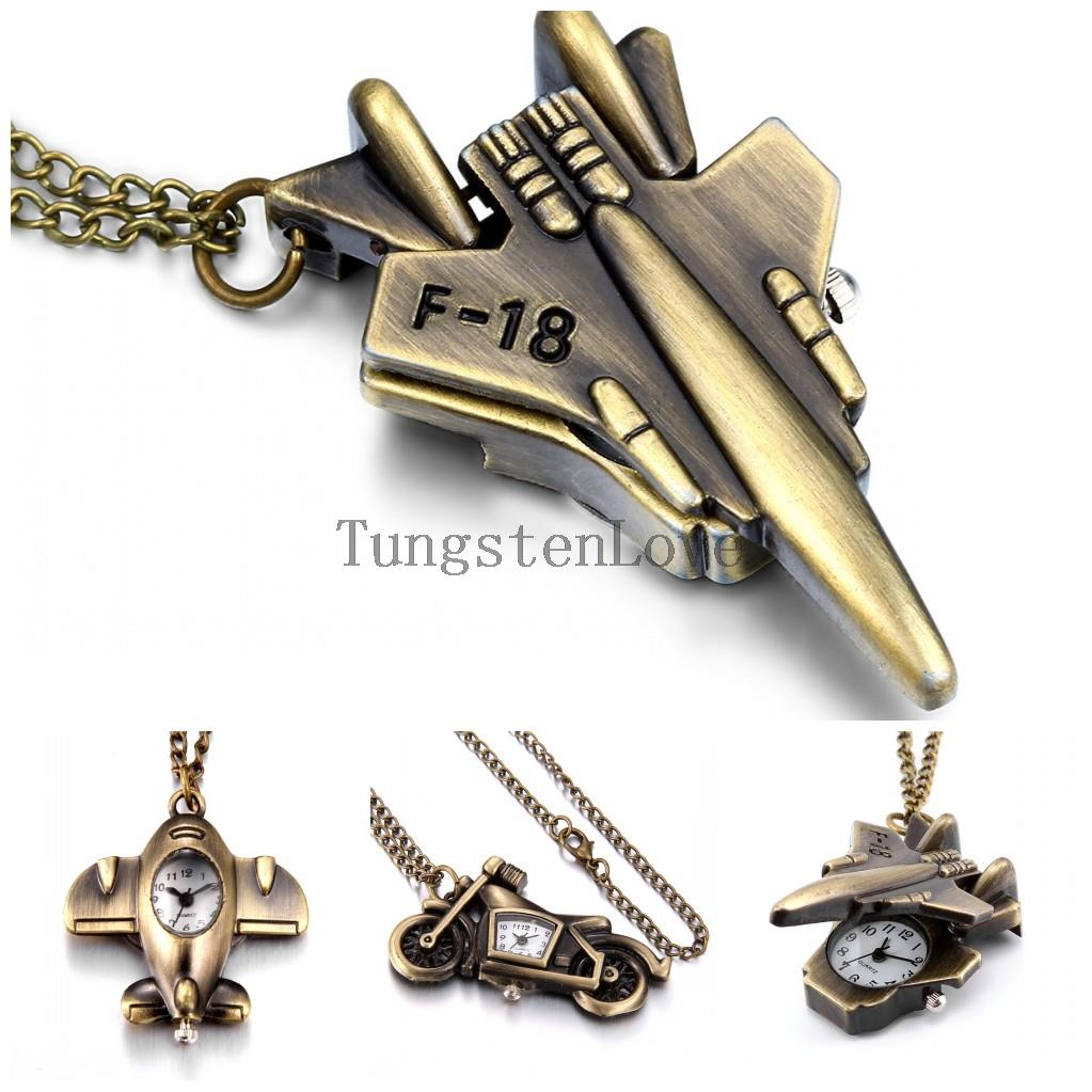 """Men Vintage Pocket Watch Quartz Movement with Bronze F-18 Fighter Airplane, Motorcycle Arabic Numerals Long Necklace Watches 31""""(China (Mainland))"""