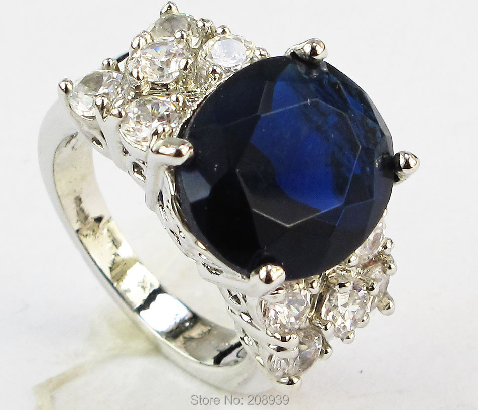Stunning Fashion 6.8CT Synthetic Sapphire Zircon Heavy 14K White Gold Plated Ring #1231 size 7 8 9 10(China (Mainland))