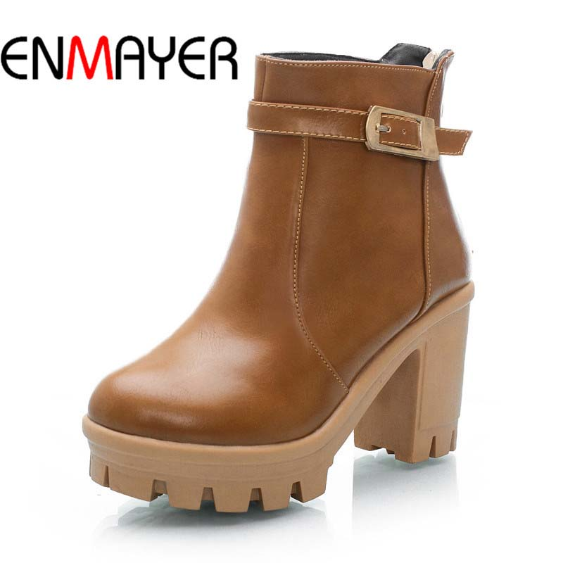 ENMAYER Women Boots Shoes New Big Size34-43 Round Toe Zip Square heel High Boots For Women Winter Soft Leather Platform Ankle <br><br>Aliexpress
