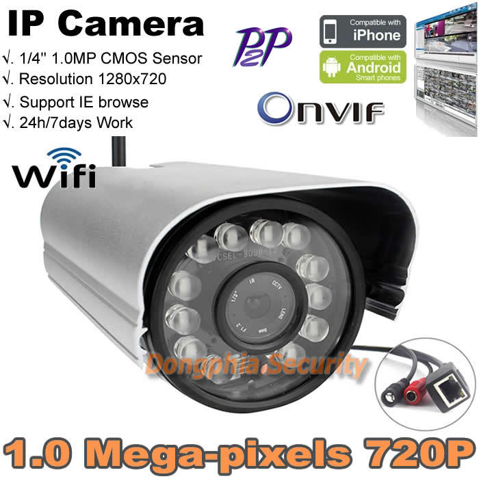 720p metall shell can work outdoor and indoor waterproof wireless IP camera Standard ONVIF P2P support remote view 12pcs ir led(China (Mainland))