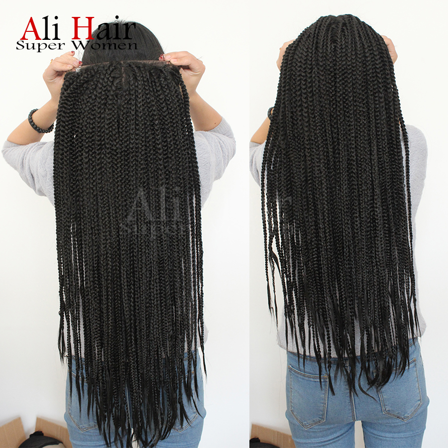 Ali hair braided lace front wig brazilian hair heat resistant synthetic lace front wig for women black full braiding lace wig<br><br>Aliexpress