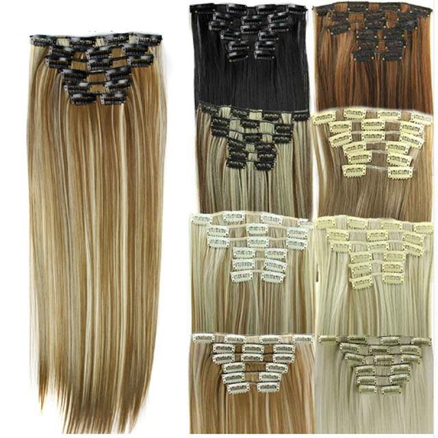 """Synthetic Hair with Clips 16 Clip in Hair Extensions False Hair Hairpieces Synthetic 23"""" Long Straight Hairpiece 140g"""