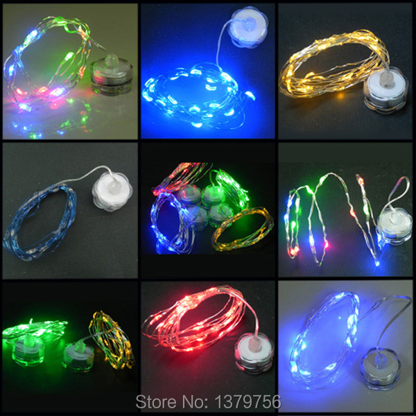 coin battery powered 10pcs 2M 20leds many colors rice copper wire led submersible string light for flower vase(China (Mainland))