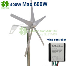 small wind power turbines 5blades 400w, Max 600w wind generators + small wind controller 12v/24v auto change for home ,LED lamp(China (Mainland))