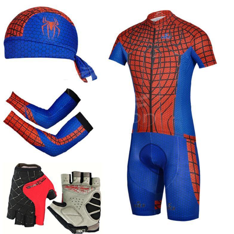 2015 New Super Hero SpiderMan style men cycl cycling 5pcs/lot jersey+ bib short + cycling gloves+ scarf+arm warmer Bike Clothing(China (Mainland))