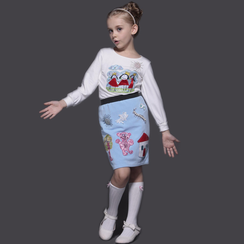 Children Clothing Sets 2015 New Arrival Handmade Embroidery Scrawl Girls Sets Princess Costume Long Stockings+ T shirt +Skirt <br><br>Aliexpress