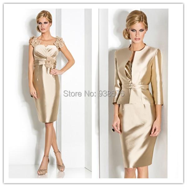 Custom Made2015 Gorgeous Gold Mother Bride Dresses Jacket Wedding Guest Dress Evening Gown Vestido Para Mae Da Noiva - Bridal Fashion Store store
